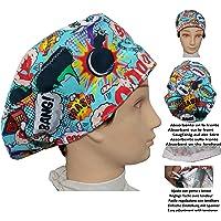 Cappello di sala operatoria BOOM per Capelli Lunghi, chirurgia, dentista, veterinaria, cucina, Asciugamano davanti…