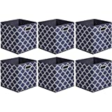Amazon Basics Lot de 6 cubes de rangement pliables en tissu avec œillets ovales Treillis