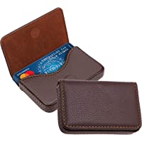 DAHSHA Pocket Sized Stitched PU Leather Credit Card Holder Visiting Business Card Case Wallet with Magnetic Shut (Coffee…