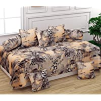BROMWICK Texturing Printed Microfiber Diwan Set 8 Pieces, 1 Single bedsheet, 5 Cushions Covers and 2 Bolster Covers-Beige