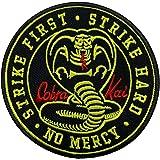 Gemelolandia   Parche Cobra Kai Round Strike First Strike Hard No Mercy 9 cm   Muy Adherentes   Patch Stickers Para Decorar T