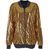 MIXLOT New Sexy Sequin Embellished Bomber Jacket Festival Clubbing Party Disco 70S Jacket Coat Glitter Sparkle Shiny Long Sle