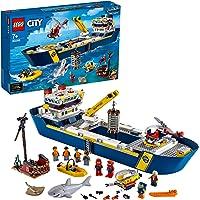 LEGO 60266 City Le Bateau d'Exploration océanique, Jouet de Bateau Flottant, Ensemble sous-Marin, Aventure de plongée…