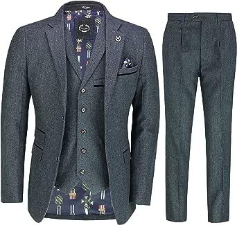 Mens Blue Brown Tweed 3 Piece Suit Retro 1920s Smart Tailored Fit