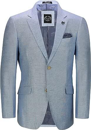 Xposed Mens Linen Blazer Cotton Blend Retro Vintage Smart Casual Jacket [BLZ-LINEN-40-BLUE-36,Sky Blue, UK/US 36 EU 46]