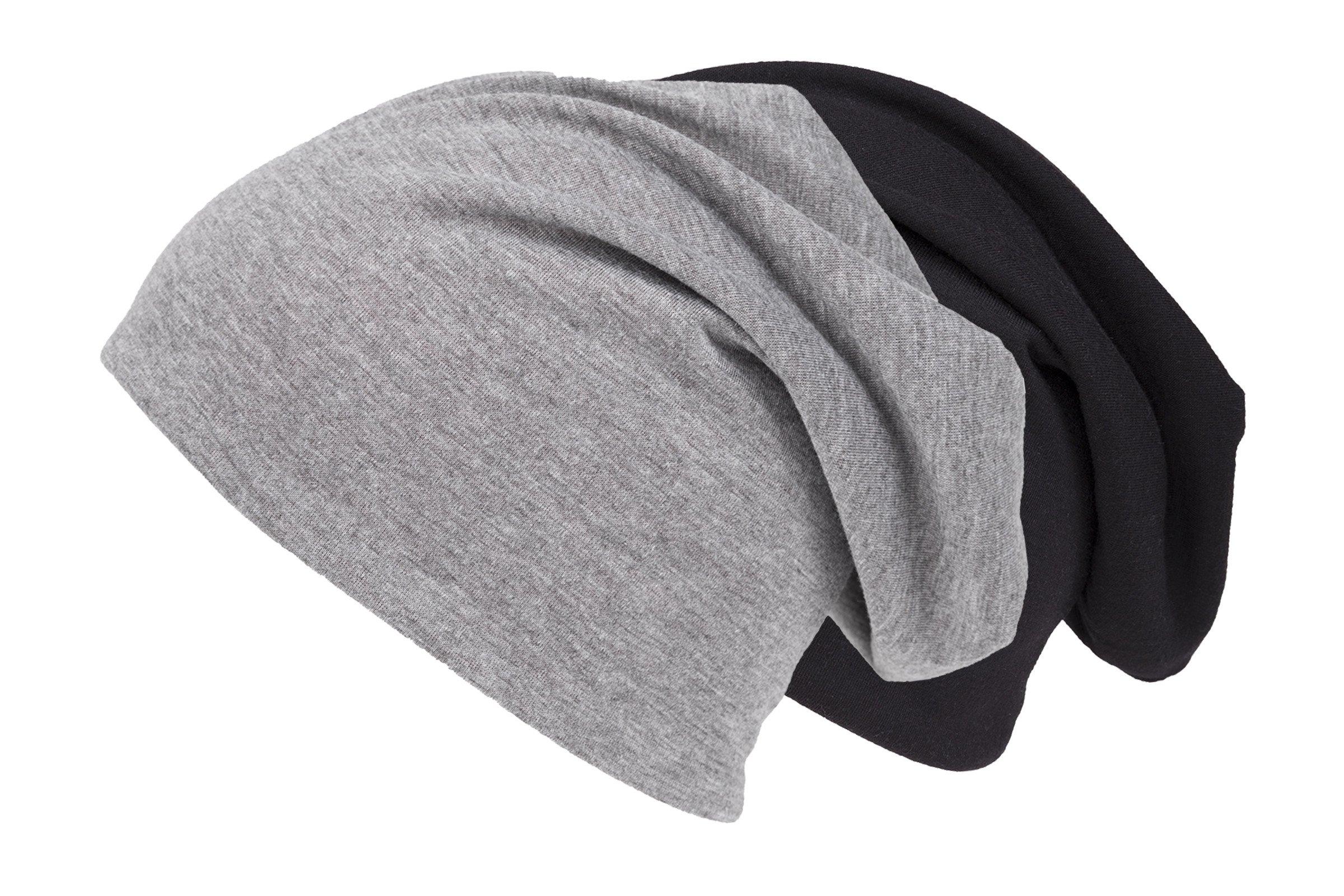 shenky – Cappello Lungo Attillato in Jersey – Nero e Grigio – Confezione da  2 8fd03039d48b