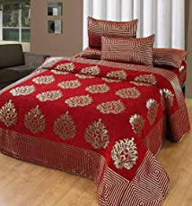 Akshya 250 TC Velvet Bombay Premium Chenille Double Bedsheet with 2 Pillow Cover - Queen Size, Red