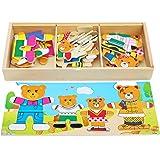 Toys of Wood Oxford TOWO Puzzle in Legno - Famiglia di Orsi con Set di Vestiti e Accessori - Selezione e Abbinamento - Gioco