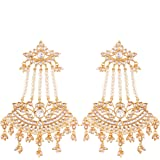 I Jewels 18K Gold Plated Traditional Handcrafted Drop Earrings Encased with Faux Kundan & Pearl for Women/Girls (E2636-78)