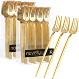 Novelty Modern Flatware, Cutlery, Disposable Plastic Dinner forks Luxury Gold 64 Count