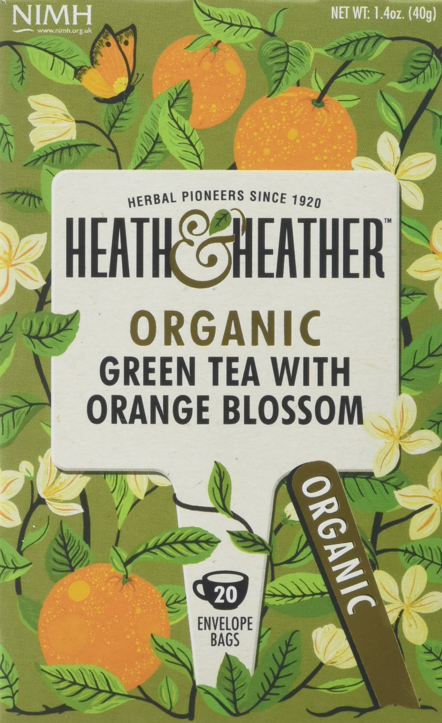 Heath & Heather organic green tea tea bundle (soil association) (green tea) (6 packs of 20 bags) (120 bags) (a fruity tea with aromas of orange) (brews in 2-3 minutes)