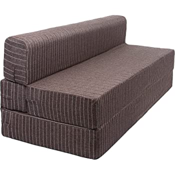 Uberlyfe Folding Foam Tri-Fold Guest Sofa/Bed With Washable Cover - 3 Seater (Brown, 70X72X8-Inch)
