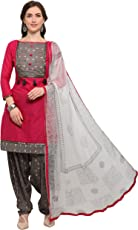 EthnicJunction Women's Cotton Dress Material (EJ1180-88008_Free Size_Barbie Pink)