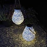 Gadgy Solarna latarnia biała | 2 sztuki | Wodoodporna zewnętrzna latarnia LED | Orientalne lampy słoneczne do oświetlenia zew