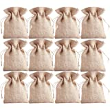 Earthbags Natural Jute Pouches with Twine Drawstring Closure | Party Favors Burlap Sacks | Best for Christmas, Birthday, Wedd