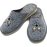 ABSoft - Pantofole da donna con ricamo, 100% in feltro