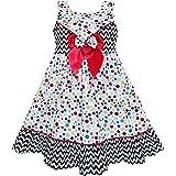 Sunny Fashion Vestido para niña Sin Mangas Polka Dot Corbata de moño Rayado Negro Ola 4-14 años