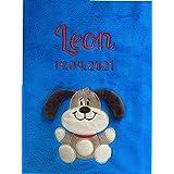 Manta para bebé Bordada con Nombre y Fecha de Nacimiento/Suave y Agradable/Calidad 1A con Oeko-Tex 100 (Blau - Hund)