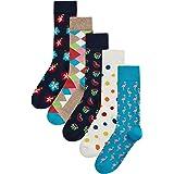 HS by Happy Socks Hibiscus - Pack de 5 calcetines para hombre, 4-11 (talla 41-46)