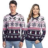 Hawiton Maglione di Natale Donna Uomo Maglione Invernale Caldo Pullover Modello Manica Lunga Fiocco di Neve e Elk Maglione