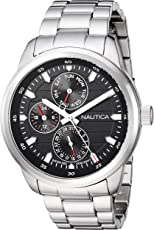Nautica Men's 'FORBELL Collection' Quartz Stainless Steel Casual Watch, Color:Silver-Toned (Model: NAPFRL005)