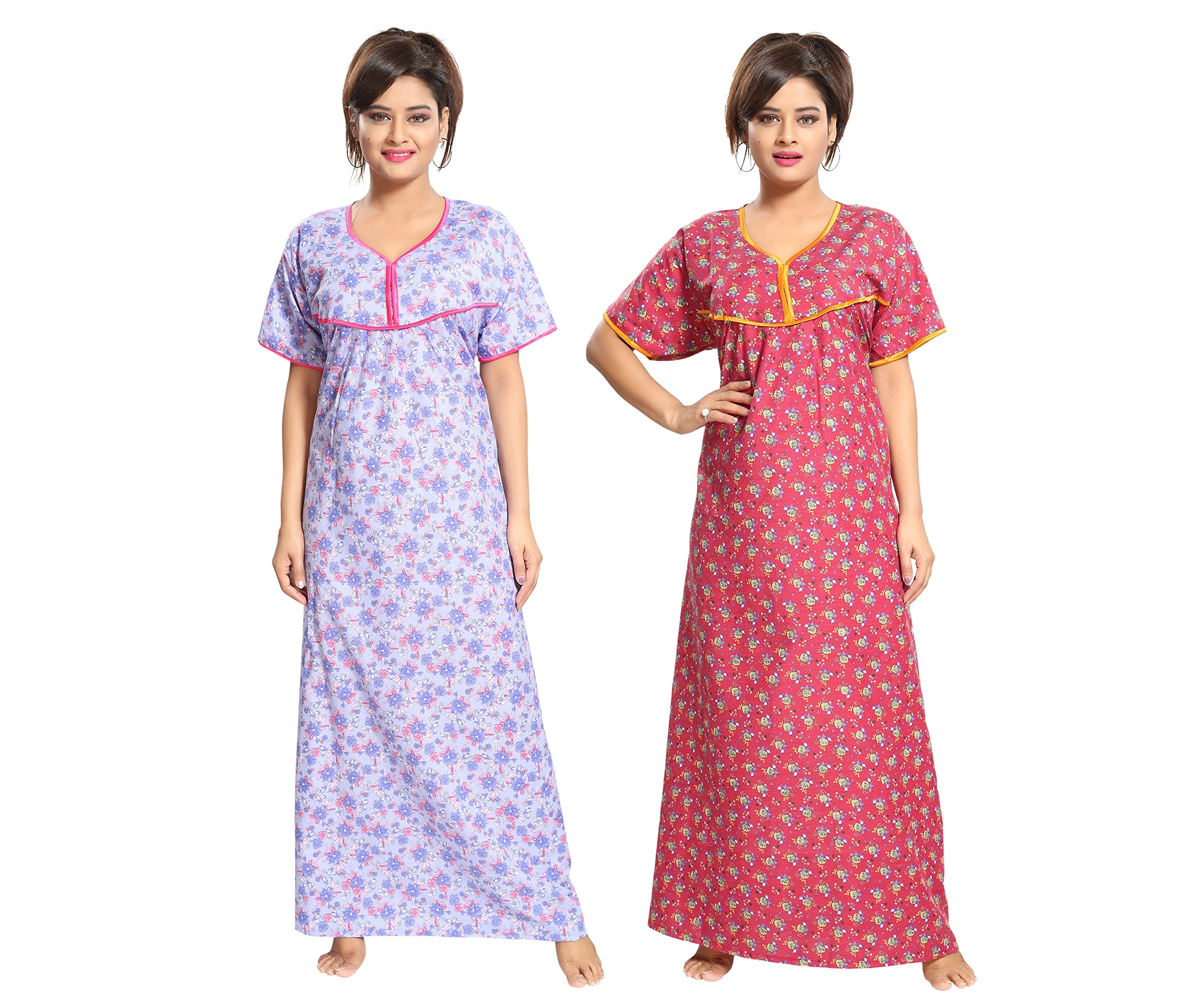 b6f5a21f14 TUCUTE Women's Cotton Beautiful Floral Print Nighty/Night Gown/Night ...