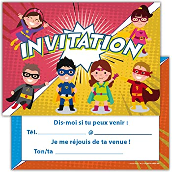 cartes superheroes carte super heros invitation d 39 anniversaire f te enfant garcon en francais. Black Bedroom Furniture Sets. Home Design Ideas