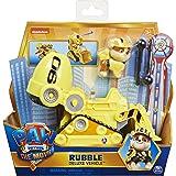 Paw Patrol - Rubble's Deluxe - Vehículo de Juguete transformable con Figura de acción Coleccionable, de la película la Patrul