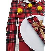 GIACALLON - Tovaglioli Natalizi in cotone Tartan Creati a Mano con fiocco oro - Decorazione Tavola Natale 2 Pezzi…