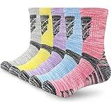 5 Pairs Womens Ladies Walking Socks Hiking Socks for Women 4-7 Multipack Black Grey Thick Warm Sports Work Boot Calf Socks An