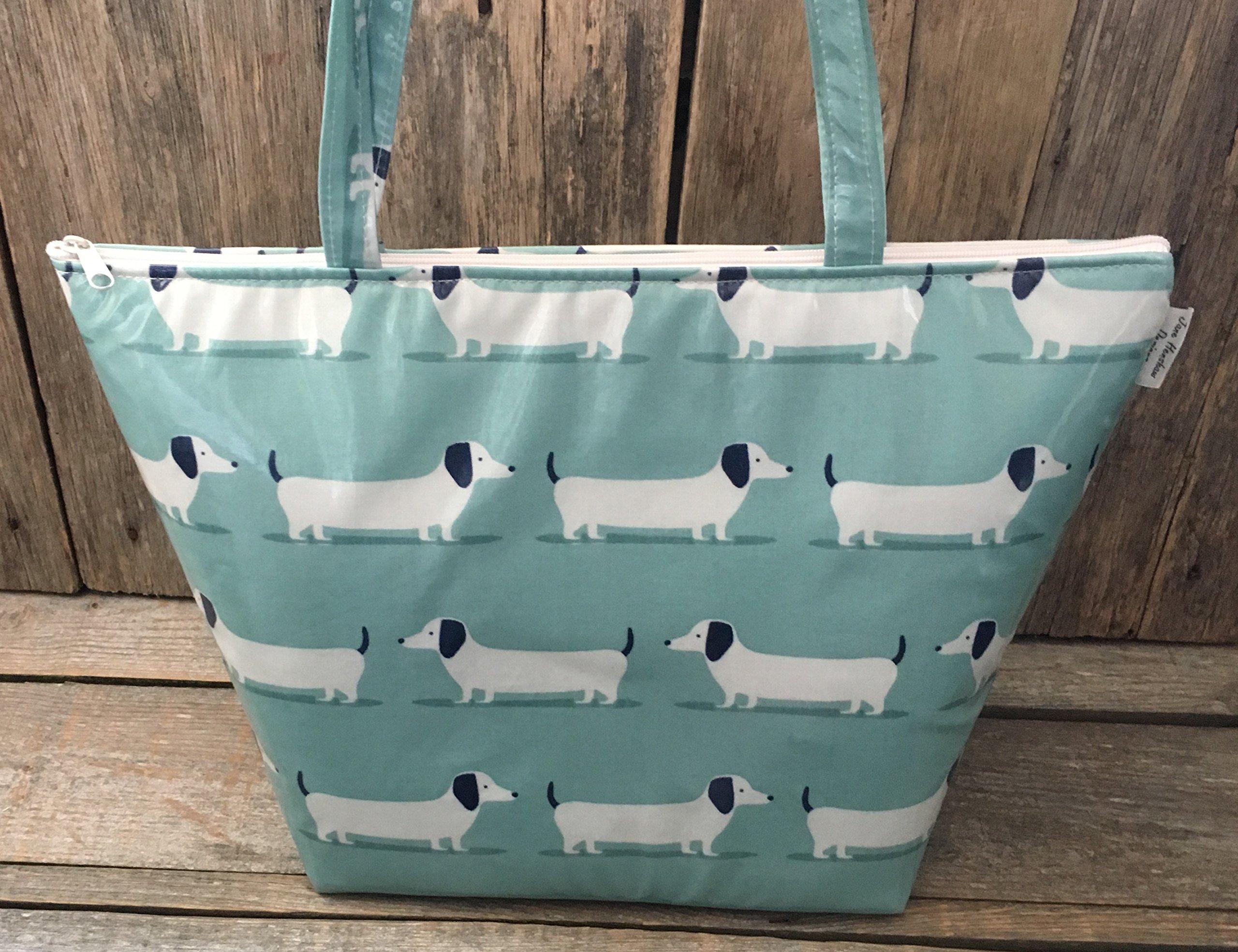 Tote bag,shopping bag,hand bag,book bag,school bag, duckegg blue dachshund oilcloth - handmade-bags