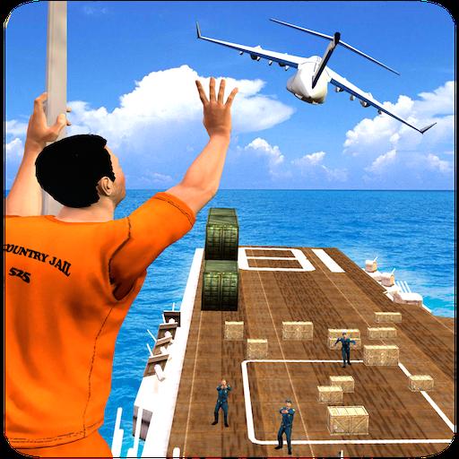 Gefangener Leben Rettung Mission In Cop Chase Verbrechen Gangster Spiele: Gefängnis entkommen Überleben im Flugzeug Simulator Free 3D -