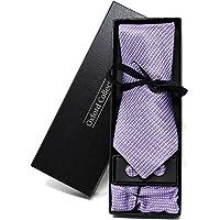 Cravatta da uomo, Fazzoletto da Taschino e Gemelli Viola Pied de Poule - 100% seta - Classico, Elegante e Moderno…
