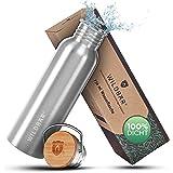 WILDBÄR® - Premium Trinkflasche Edelstahl [750 ml] einwandig u. auslaufsicher mit Bambus Deckel - Edelstahl Trinkflasche für