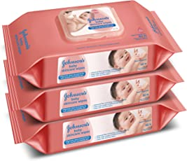 Johnson's Baby Skincare Wipes (Pack of 3, 80 Sheets per Pack)