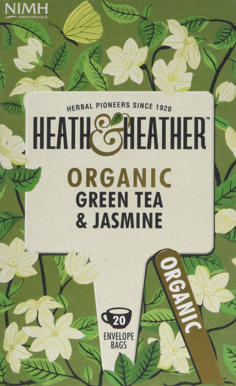 Heath & Heather organic green tea tea bundle (soil association) (green tea) (6 packs of 20 bags) (120 bags) (a floral tea with aromas of jasmine) (brews in 2-3 minutes)