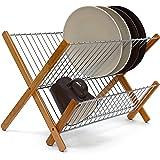 Relaxdays Égouttoir à vaisselle CROSS Bambou métal pliable 27 x 38 x 29 cm, nature