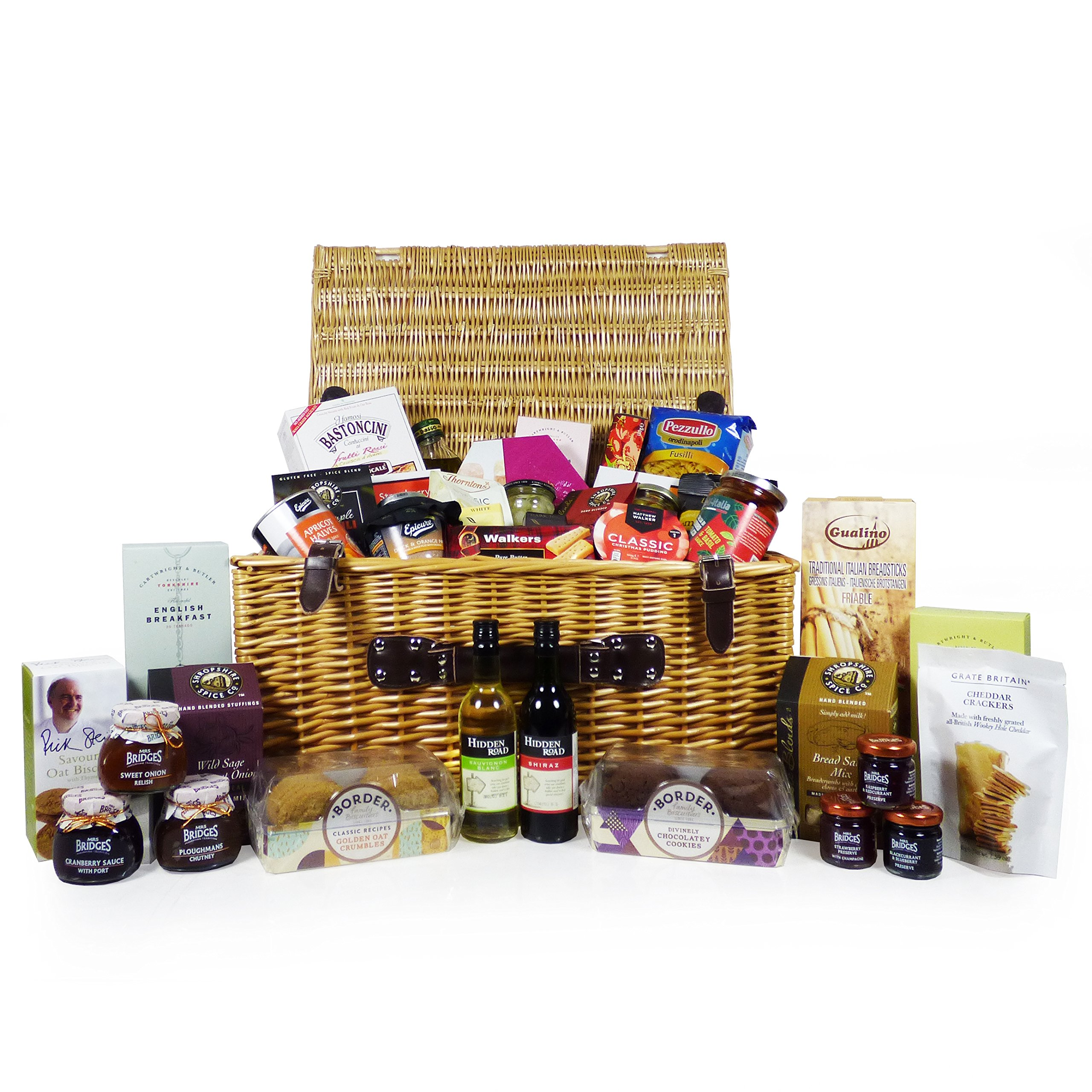 Christmas Hamper Basket.For Someone Special Large Luxury Wicker Food And Drink Hamper Basket With 40 Gourmet Food Items Including 2 X 187ml Bottles Of Wine A Great Gift