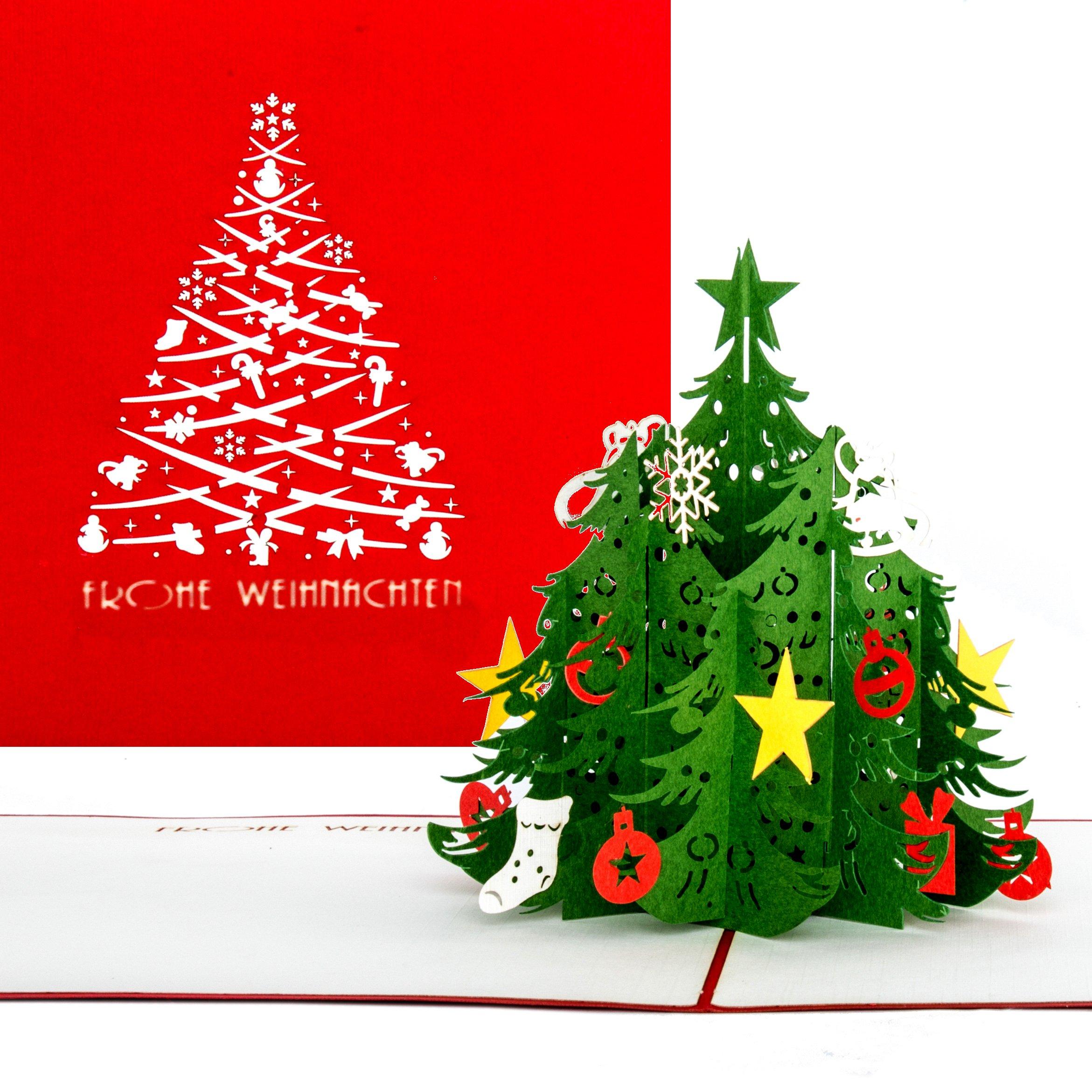 Frohe Weihnachten 3d.Weihnachtskarte Tannenbaum Classic Frohe Weihnachten Rot Grusskartenkaufen De