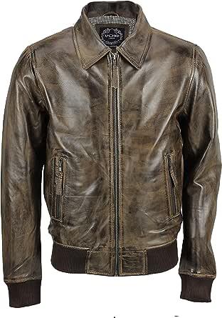 Mens Soft Real Leather Collar Bomber Jacket Vintage Biker Style Black, Tan Brown