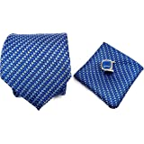 Ollera Men's Combo of Necktie, Pocket Square and Cufflinks in Premium Wooden Box(Blue, Free Size) - Gift Set for Men