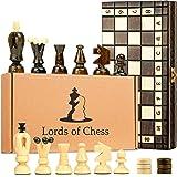 Scacchiera in Legno e Dama Gioco - 2 in 1 Scacchi Professionale, Chess Board Scacchiere Set Portatile Gioco da Viaggio per Adulti Bambini 31 x 31 cm