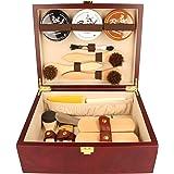 BURGOL Schuhputzkasten Schuhputzkiste aus Holz mit Schuhpflegeset 15 teilig mit Gravur