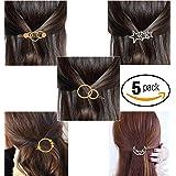 FOK Minimalist Moon Star Sun Design Hair Clip Pin For Girls Women - Gold, Silver - 5 piece