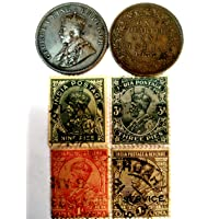GOLD MINT 1936 King George KG V British India Old Antique World War II Stamps and Quarter Anna Coin Set