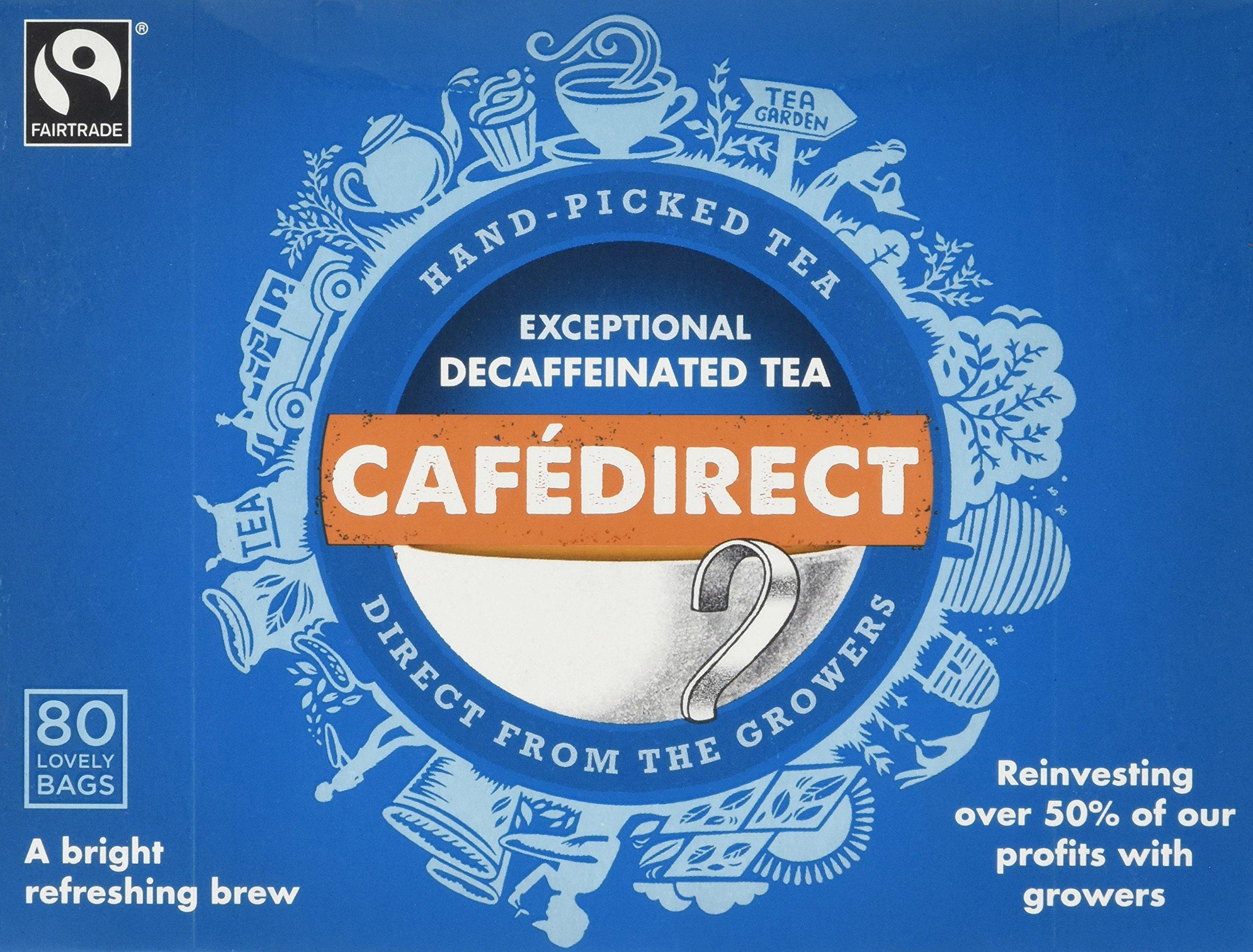 Cafédirect decaf tea bundle (fairtrade) (black tea) (6 packs of 80 bags) (480 bags) (brews in 2-4 minutes)