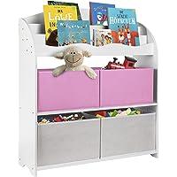 ONVAYA® Bibliothèque pour enfants - Blanc - Avec boîtes - Rangement des livres et des jouets - Organiseur pour chambre d…