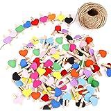 FT-SHOP Clips de Fotos de 100 Piezas Mini Pinzas de Madera Fotográfico Clavijas en Forma de Corazón Craft Clips con 30m Corde