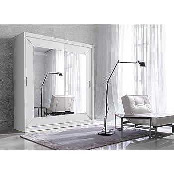 Schwebetürenschrank ALFA Schiebetürenschrank Kleiderschrank  Schlafzimmerschrank (180 Cm, Weiß Matt)