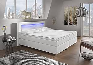 Designer Lederlook Boxspringbett mit LED Beleuchtung und